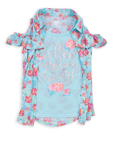 Girls 7-16 Graphic Floral Cold Shoulder Top,TURQUOISE,large