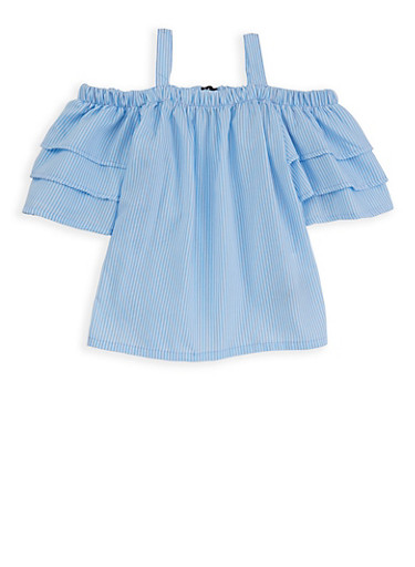 Girls 7-16 Striped Off the Shoulder Top,BABY BLUE,large