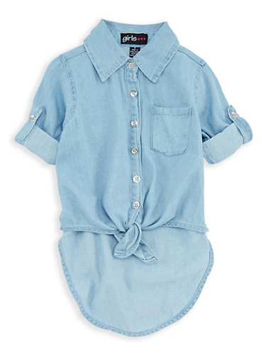 Girls 7-16 Denim Button Front High Low Top,LTBLUE,large