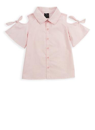 Girls 7-16 Striped Cold Shoulder Shirt,PINK,large