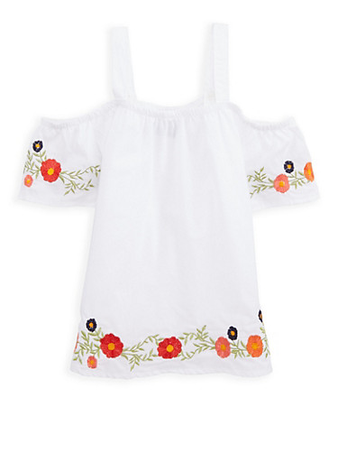 Girls 7-16 Embroidered Off the Shoulder Top,WHITE,large