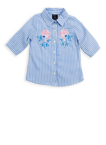 Girls 7-16 Embroidered Button Front Shirt | Tuggl