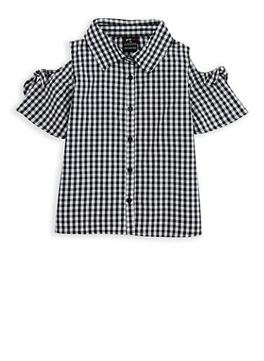 Girls 7-16 Gingham Cold Shoulder Top,BLACK/WHITE,large
