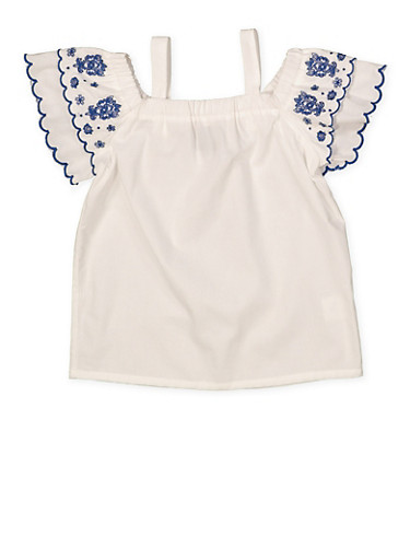 Girls 7-16 Embroidered Sleeve Off the Shoulder Top,WHITE,large