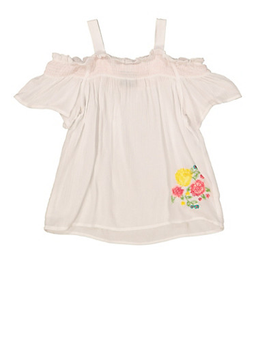Girls 5-16 Floral Embroidered Off the Shoulder Top,WHITE,large