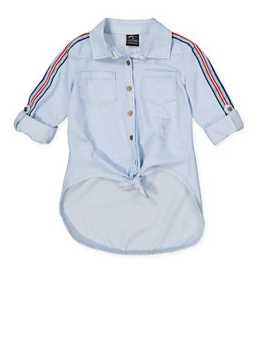 Girls 7-16 Tie Front Denim Shirt,DENIM,large