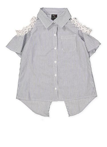 Girls 7-16 Crochet Trim Striped Shirt,NAVY,large
