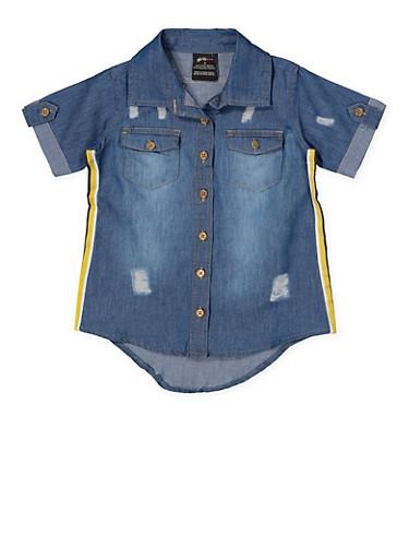 Girls 7-16 Striped Tape Denim Shirt,MEDIUM WASH,large