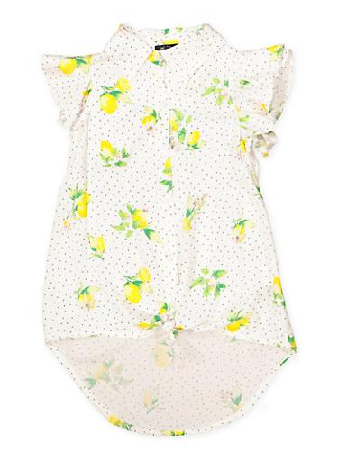 Girls 7-16 Lemon Print Button Front Shirt,WHITE,large