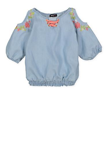 Girls 7-16 Embroidered Denim Cold Shoulder Top,LIGHT WASH,large