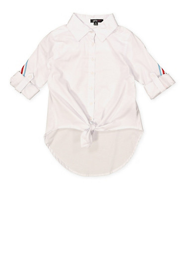 Girls 7-16 Striped Tape Tie Front Shirt,WHITE,large