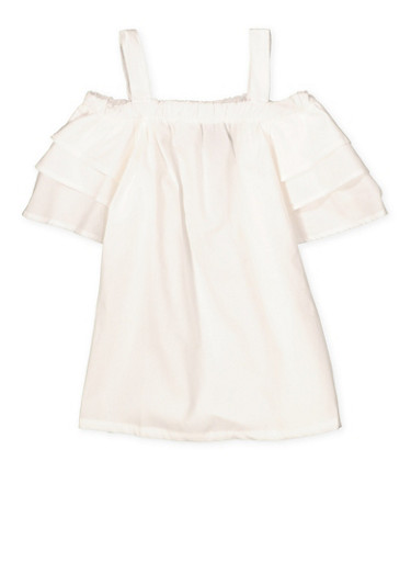 Girls 4-16 Tiered Sleeve Off the Shoulder Top,WHITE,large