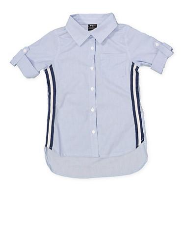 Girls 7-16 Tape Trim Striped Shirt,NAVY,large