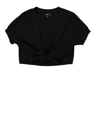 Girls 7-16 Tie Front Shrug,BLACK,large