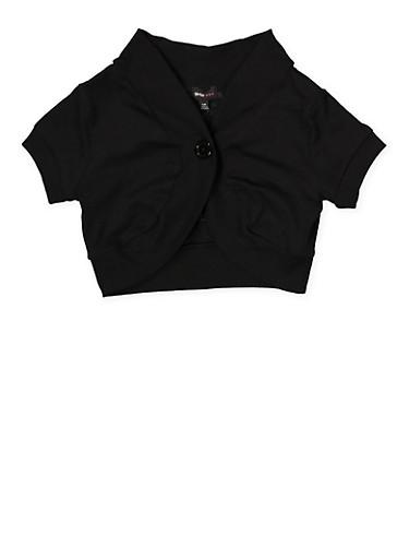 Girls 7-16 One Button Shrug,BLACK,large