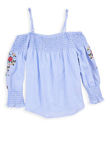 Girls 7-16 Striped Embroidered Cold Shoulder Top,BABY BLUE/WHT,large