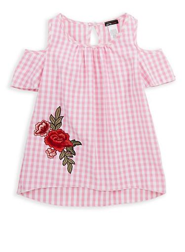 Girls 7-16 Gingham Floral Patch Cold Shoulder Top,WHITE/PINK,large