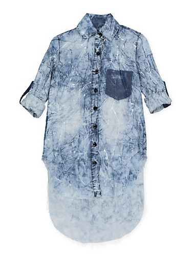 Girls 7-16 Paint Splatter High Denim Shirt,DENIM,large