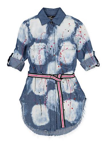 Girls 7-16 Paint Splatter Denim Tunic Shirt,DENIM,large