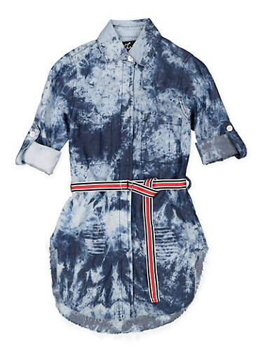 Girls 7-16 Belted Denim Tunic Shirt,DENIM,large
