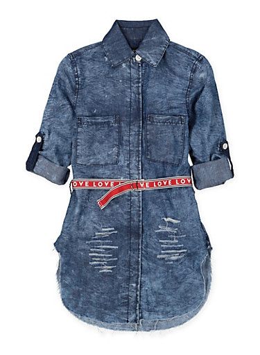 Girls 7-16 Graphic Belted Denim Tunic Shirt,DENIM,large