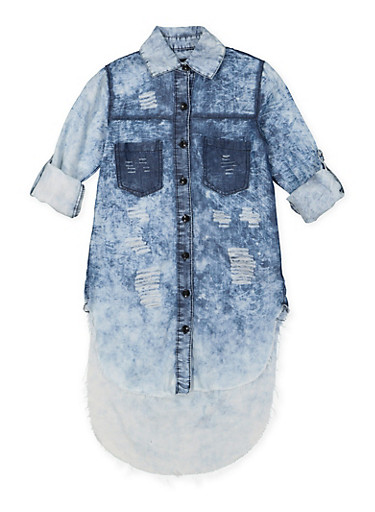 Girls 7-16 Distressed Denim Tunic Shirt,DENIM,large
