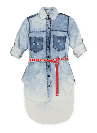 Girls 7-16 Belted Denim High Low Shirt,DENIM,large