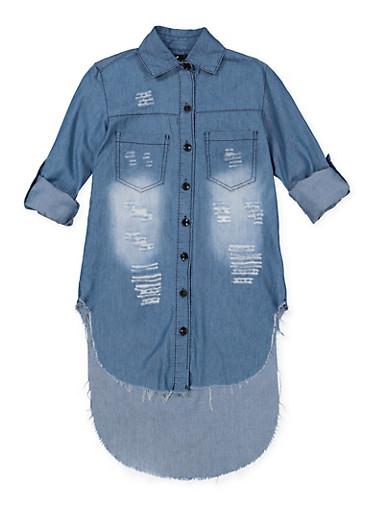 Girls 7-16 Distressed Denim Tunic Shirt | Medium Wash,DENIM,large
