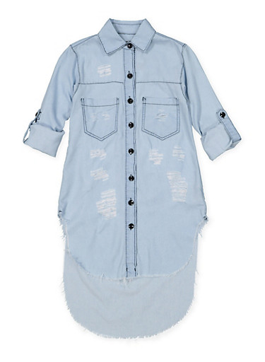 Girls 7-16 Distressed Denim Tunic Shirt | Light Wash,DENIM,large