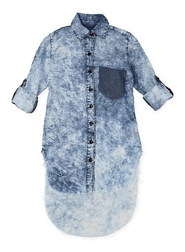 Girls 7-16 Acid Wash Denim Tunic Shirt,DENIM,large