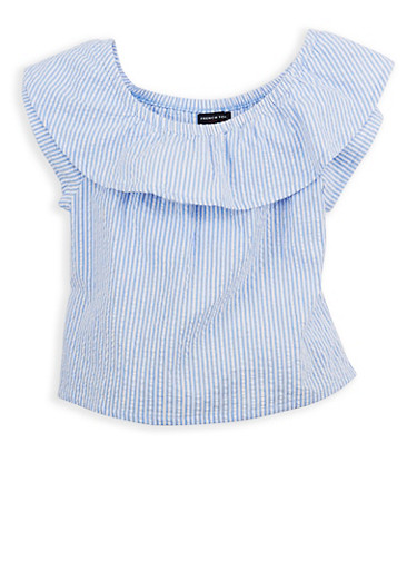 Girls 7-16 French Toast Seersucker Peasant Top,BLUE HAVEN,large
