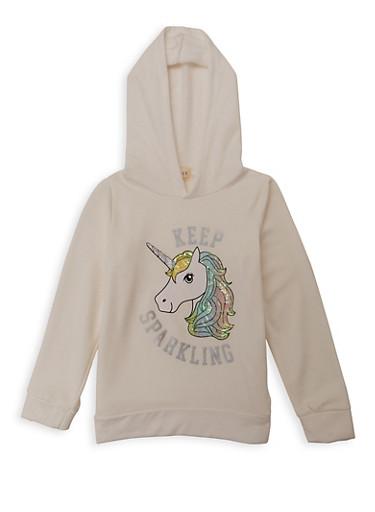 Girls 7-16 Keep Sparkling Unicorn Sweatshirt,IVORY,large