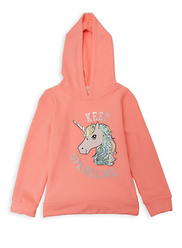 Girls 7-16 Keep Sparkling Unicorn Pullover Sweatshirt,CORAL,large