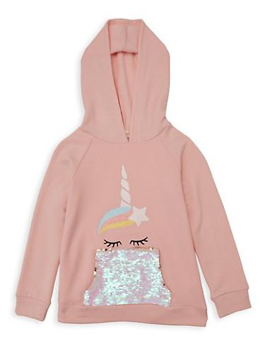 Girls 7-16 Unicorn Reversible Sequin Pocket Sweatshirt,BLUSH,large