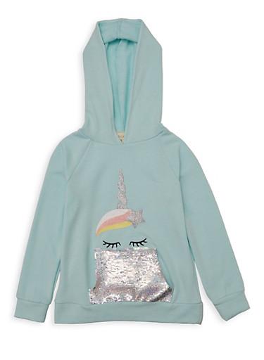Girls 7-16 Unicorn Reversible Sequin Sweatshirt,MINT,large