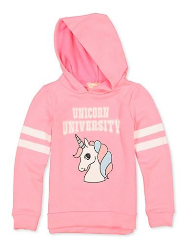 Girls 7-16 Unicorn University Sweatshirt,NEON PINK,large