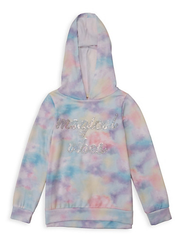 Girls 7-16 Magical Vibes Tie Dye Sweatshirt,MULTI COLOR,large