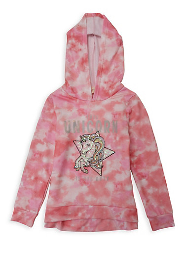 Girls 7-16 This Unicorn Is Off Duty Sequin Sweatshirt,CORAL,large