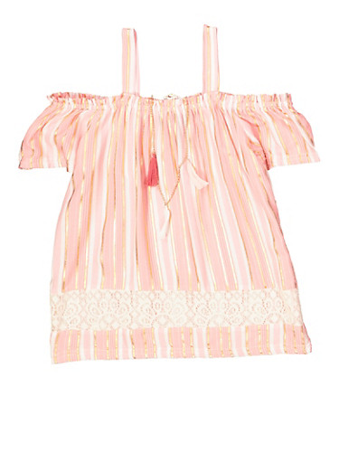Girls 7-16 Striped Off the Shoulder Top with Necklace,PINK,large