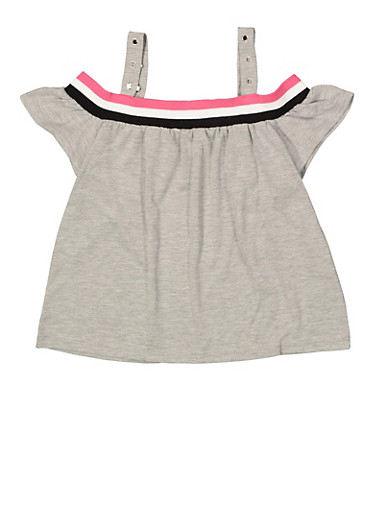 Girls 6-16 Striped Tape Off the Shoulder Top,HEATHER,large