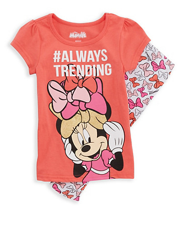 Girls 4-6x Minnie Mouse Graphic T Shirt and Leggings,CORAL,large