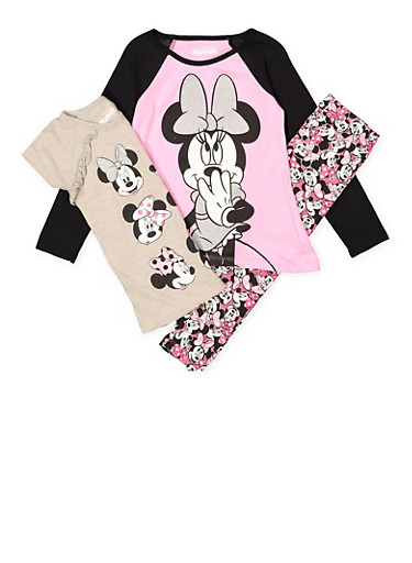 Girls 4-6x Minnie Mouse Tees with Leggings,MULTI COLOR,large