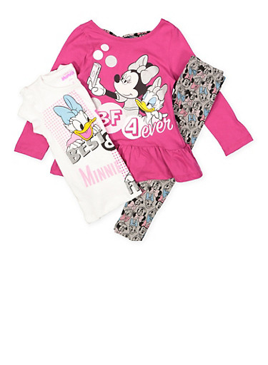 Girls 4-6x Minnie Mouse and Daisy Duck Tees with Leggings,MULTI COLOR,large