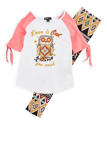 Girls 4-6x Owl Graphic Top with Printed Leggings,MULTI COLOR,large