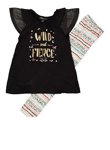 Girls 4-6x Wild and Fierce Top with Leggings,BLACK,large