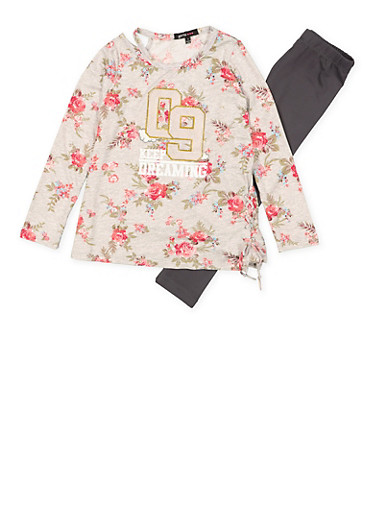 Girls 4-6x Keep Dreaming Cut Out Top with Leggings,HEATHER,large