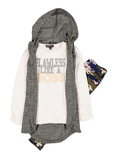 Girls 4-6x Flawless Like a Boss Tee with Vest and Leggings,HEATHER,large