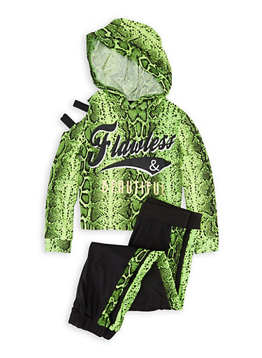 Girls 4-6x Flawless Snake Print Hooded Top and Joggers,NEON LIME,large