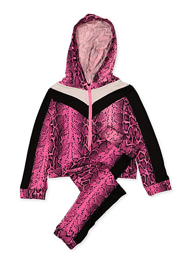 Girls 4-6x Snake Print Hooded Top and Joggers Set,NEON PINK,large