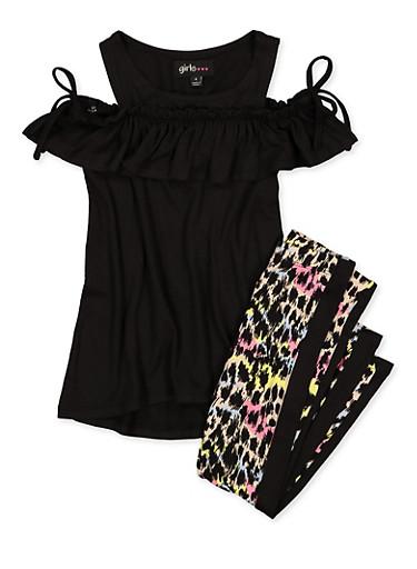 Girls 4-6x Tie Sleeve Cold Shoulder Top and Printed Leggings,BLACK,large